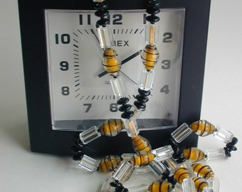 vintage yellow and black flapper style necklace