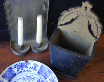 18th century style painted wood candle box