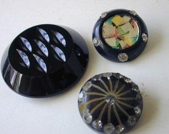 3 vintage bakelite plastic glass buttons