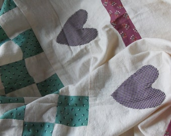 vintage heart and check pattern quilt top