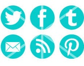 Twitter, Facebook, Pinterest Circle Icon Set - Choose your color // Minimalist icons for Blogger, Wordpress, Tumblr, Email, Contact