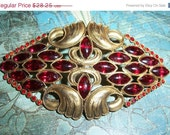 30% off Sale Antique Ornate Red Glass Rhinestone Brooch Pin