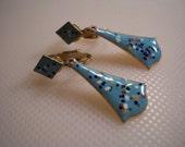 Vintage Polka Dot Enamel Dangle Drop Earrings