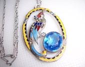 Antique Art Deco Open Work Filigree Enamel Rhinestone Bird Pendant Silver Necklace Signed