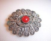 Vintage Sterling Silver Carnelain Cabochon Filigree Brooch Pin Pendant