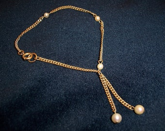 Vintage 12kt GF Genuine Pearl Dangle Drop Bracelet