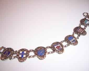 Vintage Sterling Silver European Enamel Shields of Provinces Souvenir Tourist Bracelet Signed AA