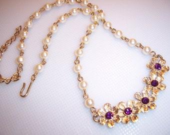 Vintage Faux Pearl Bead & Amethyst Rhinestone Flower Necklace