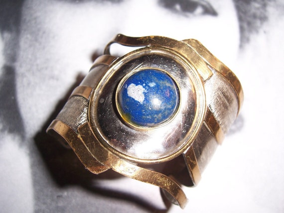 Wide 46 Grams Vintage Morita Gil Artesania Hecho A Mano Cile Lapis Cuff Bracelet
