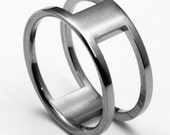"""Titanium Ring with Flat Profile and Two Large Slits on Opposite Sides """"iTi"""""""