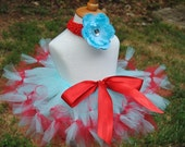 Pretty Lady Aqua and  Red Petti tutu and Headband -Perfect for unique photos, birthdays, dress-up