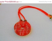 Save 60% Orange Beaded Necklace with Brass Accents
