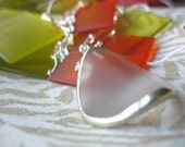 Glass Pendant Frosted Glass and Silver Wave Pendant