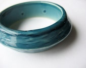 Lucite Bangle Beveled Ceramic Look Teal Blue Wide 1960's