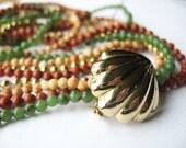 Gemstone Necklace Multi Strand Earthtones Clamshell Clasp Agate Jade 1970's