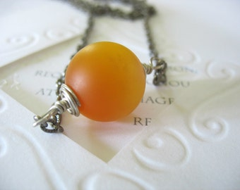 Lucite Moonglow Pendant, Ball Pendant, Golden Yellow, Glowing, Wrapped, Long Chain