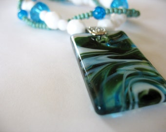 Swirled Glass Pendant Necklace Green, Blue White Ocean Colors