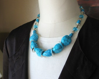 Chunky Beaded Necklace Turquoise Glass and Silver