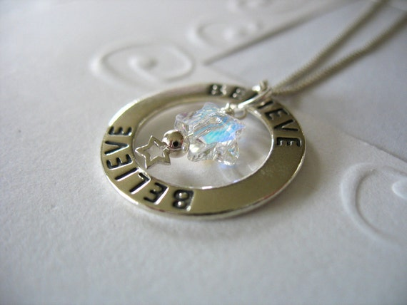 Sterling Silver Circle Pendant Necklace Inspirational Believe with Swarovski Crystal Star and Silver Star Dangle
