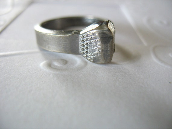 Vintage Nail Ring Artisan Made Steel Polished Cut Nail Men's Jewelry