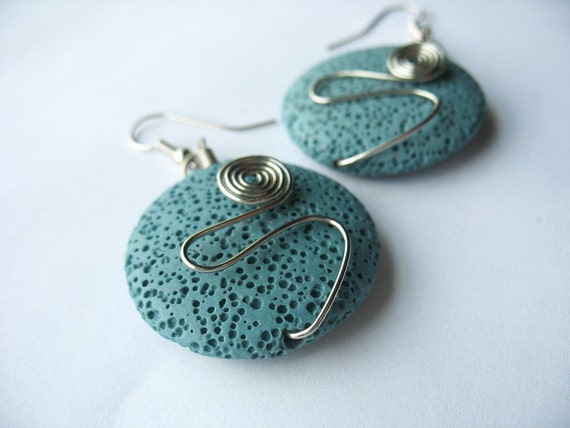Lava Rock Earrings Wire Wrapped Swirls Abstract Round Medium Blue