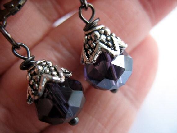 Faceted Purple Glass Earrings Antique Silver Bead Caps Dangle Gun Metal