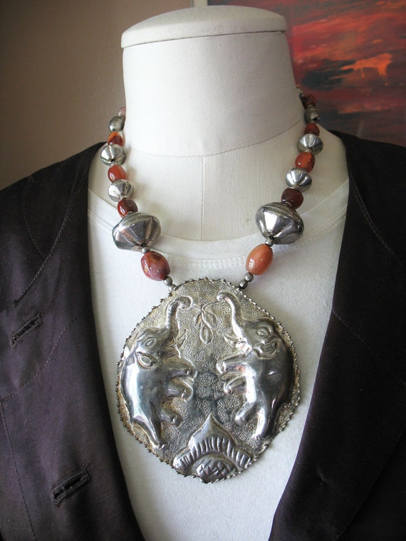 Vintage Tribal Necklace Oversized Silver Elephant Pendant Agate Carnelian Beads Ethnic Runway Unusual