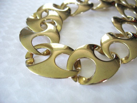 Vintage Gold Plated Link Necklace Runway Large Oval Gucci Links 1980s