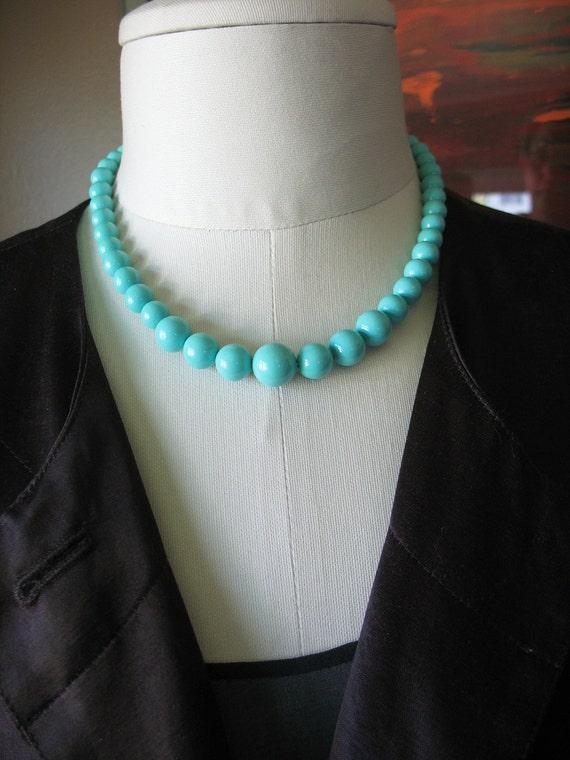 Tiffany Blue Beaded Necklace Vintage Enamel Coated Beads Signed Japan