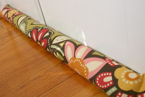 Door Draft Stopper, Draft Stoppers, Bold Green Floral. FREE U.S. SHIPPING.  29.