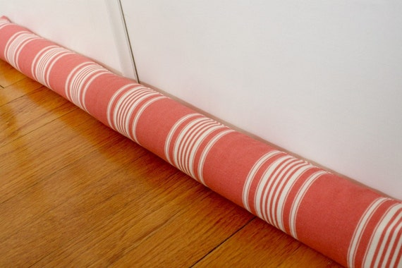 Door Draft Stopper, Draft Snake, Tomato Red, Stripes, 143.