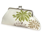 SALE Cream, brown, taupe and olive green clutch bag