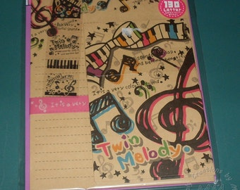 Japan Journaling Paper for Scrapbook Baby Twin Melody Music Themed Set Treble clef and music notes