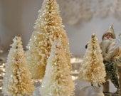 Bottlebrush Christmas Tree Set: 4 Ivory White Glitter Bottle Brush Trees