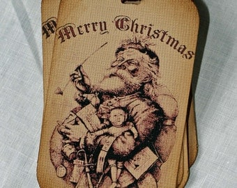 Christmas Hang Tag Vintage Inspired: Santa with Pipe