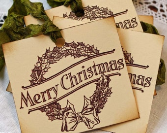 Christmas Hang Tag Vintage Inspired: Merry Christmas Wreath Gift Tag