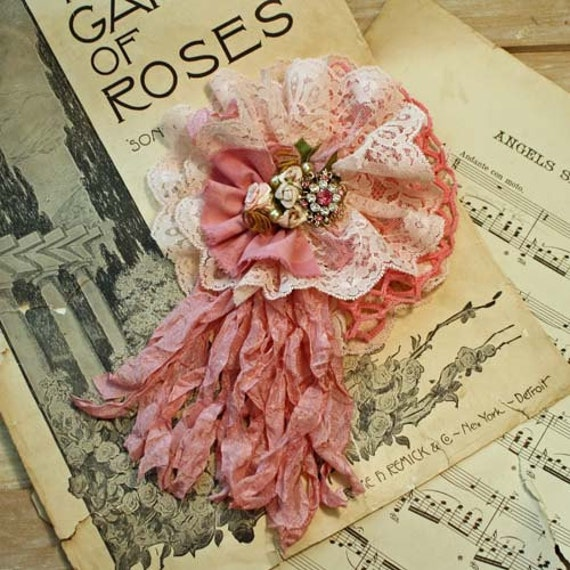 Handmade Pin Brooch Vintage Linen & Lace Tattered Rose - Pink Ice