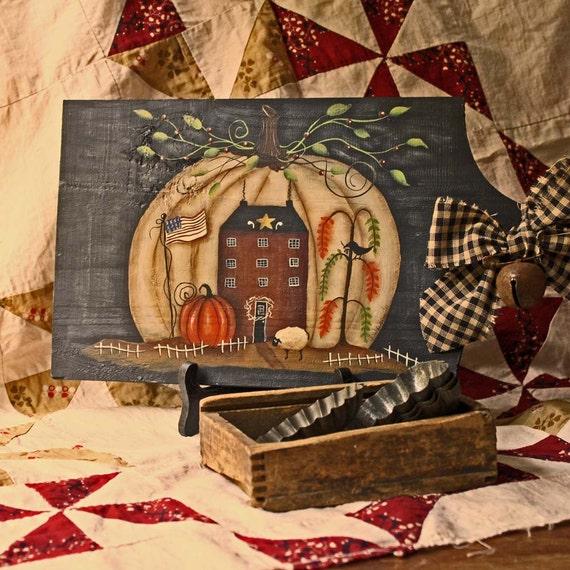 Sale Halloween Folk Art Primitive Bread Board Hand Painted