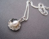 Silver Scallop Necklace with Pearl