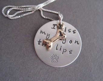 I Kiss My Dog Mixed Metal Charm Necklace