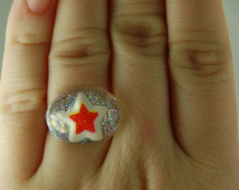 FREE SHIPPING OFFER Bright red star resin ring