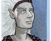 Artist Trading Card - Drow Elf Maiden