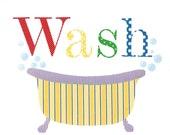 Bathroom Art, Nursery Art Print - Wash, Bathtub (bright), 11 x 14 Children's Art, Kids Art, Bathroom Decor