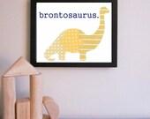 Dinosaur Nursery Art Print - Brontosaurus, Dinosaur Baby Art, Kid Wall Art, Children Decor