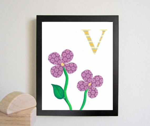 Wall Decor Letter V : Alphabet nursery art print kids wall letter v by