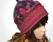 Pink Hat Beanie OOAK Freeform Crochet Wearable Art  - Alvina