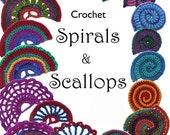 Crochet Scallops, Crochet Spirals Digital Ebook pdf patterns instant download