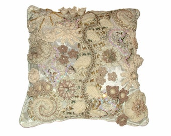Throw pillow Decorative Pillow Cushion Cover White Cream OOAK Floral Freeform Crochet Home Décor