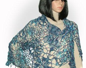 Summer Shawl Wrap Stole Beaded Crochet Lace Freeform OOAK Wearable Art blue hand-dyed