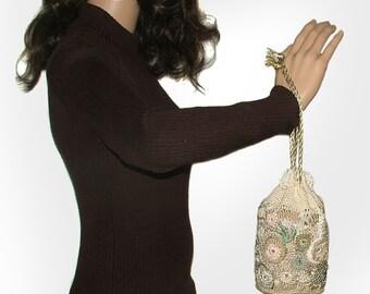 Crochet Purse, Beaded Drawstring Evening Wristlet Crochet Purse Pouch OOAK Freeform crochet Bridal purse